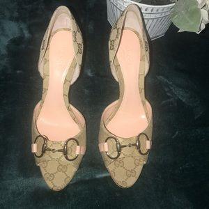 Gucci peep toe pink heels size 38C